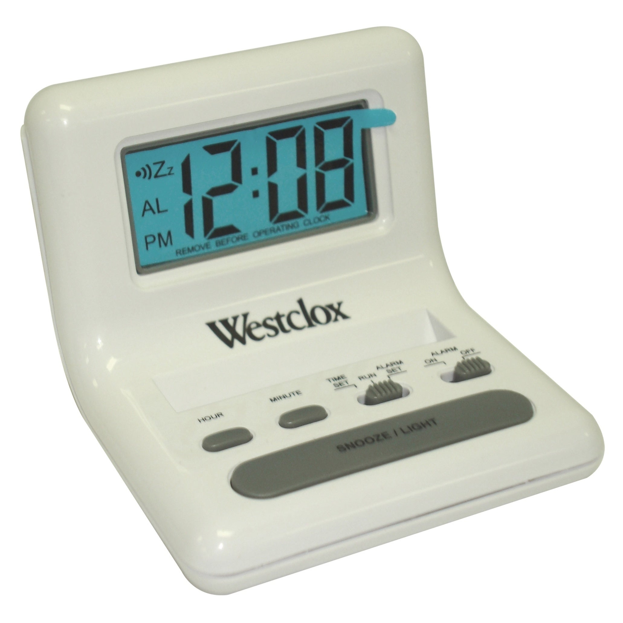 Westclox White Bedside LCD Alarm Clock (Plastic)
