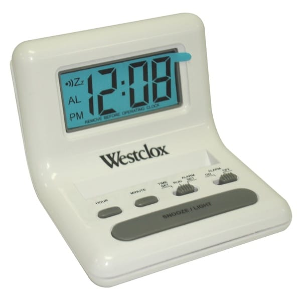 WestClox White Bedside LCD Alarm Clock