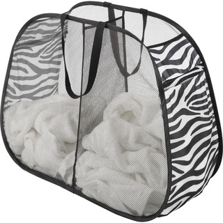 Whitmor 6085-4103 Zebra Print Pop & Fold Double Hamper