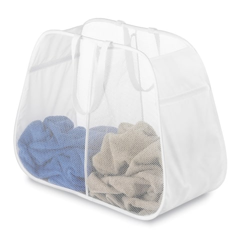 Whitmor 6233-4103-WHT White Pop & Fold Double Hamper
