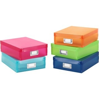 Whitmor 5-color Plastic Document Boxes