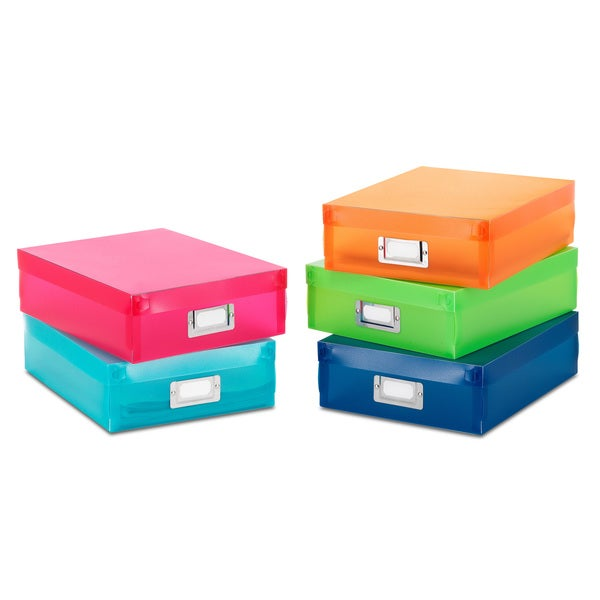 Whitmor 5 color plastic document boxes free shipping on for Whitmor document boxes set of 5