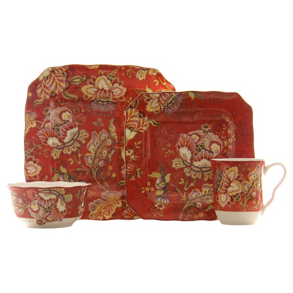 Gabrielle Red Square 16-piece Dinnerware Set  sc 1 st  Overstock.com & Gabrielle Red Square 16-piece Dinnerware Set - Free Shipping Today ...