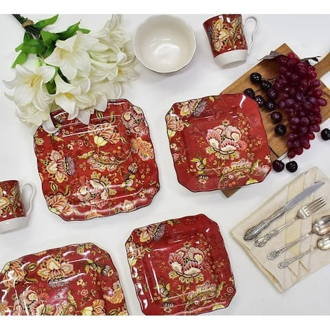 222 Fifth Gabrielle Red Square 16-piece Dinnerware Set, Service for 4