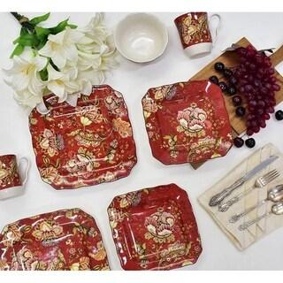 Gabrielle Red Square 16-piece Dinnerware Set