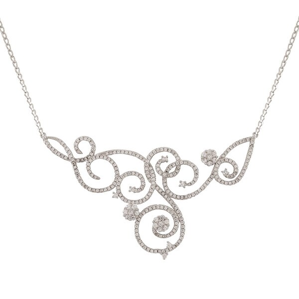 Luxiro Sterling Silver Wedding and Bridal Filigree Statement Bib Cubic Zirconia Necklace