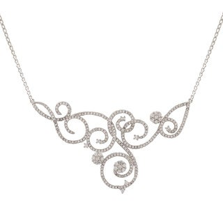 Luxiro Sterling Silver Wedding and Bridal Filigree Statement Bib Cubic Zirconia Necklace