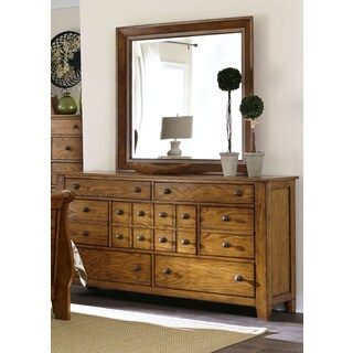 Grandpas Cabin Aged Oak 7-Drawer Dresser and Mirror Set