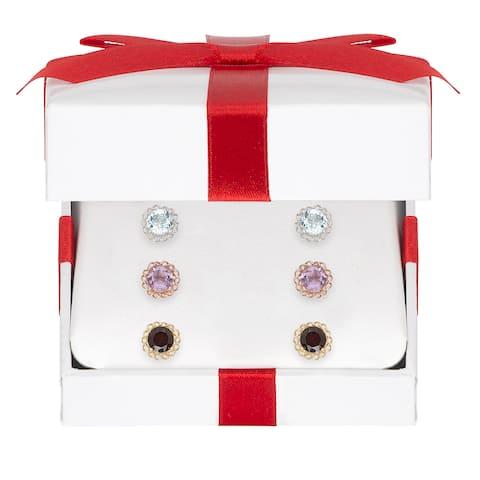 Dolce Giavonna Gold Over Sterling Silver Gemstone Stud Earring Set