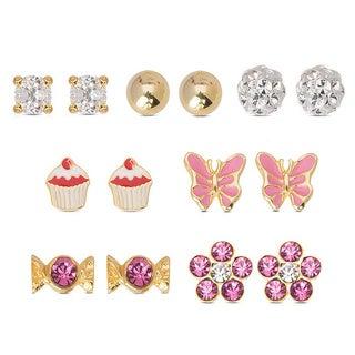 Molly and Emma Set of 7 Sterling Silver Cubic Zirconia Stud Earrings with Red Bow Gift Box (Option: White)