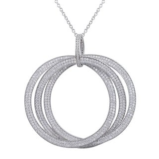 Luxiro Sterling Silver Cubic Zirconia Three Large Linked Open Circles Pendant Necklace
