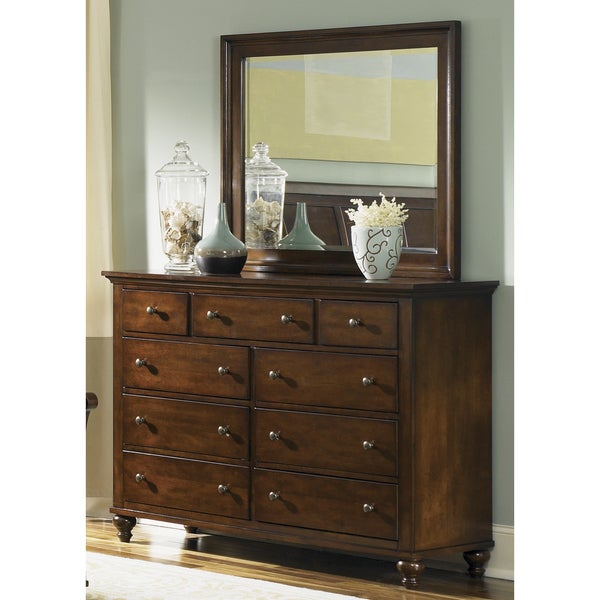 shop hamilton cinnamon 9 drawer dresser and mirror set on sale free shipping today. Black Bedroom Furniture Sets. Home Design Ideas