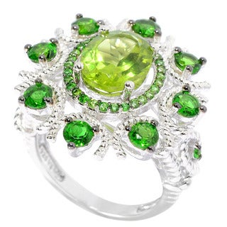 Sterling Silver Peridot Chrome Diopside Flower Ring
