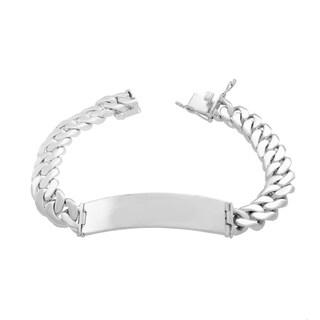 Sterling Essentials 8.5-inch Cuban Link ID Bracelet