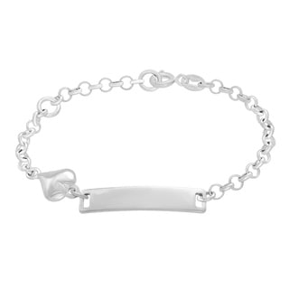 Sterling Essentials Sterling Silver Children's Heart Charm Curb Link ID Bracelet