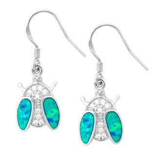 La Preciosa Sterling Silver Created Blue Opal and Cubic Zirconia Ladybug Earrings
