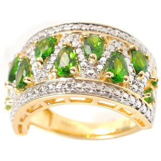18k Yellow Vermeil over Sterling Silver Pear-shaped Chrome Diopside Ring