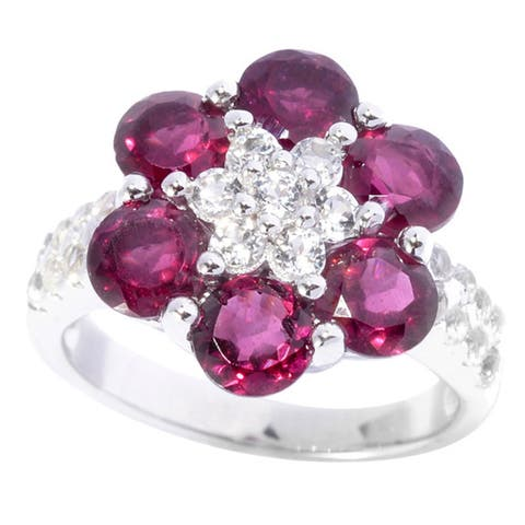 Sterling Silver Round-cut Rhodolite Garnet White Topaz Flower Ring