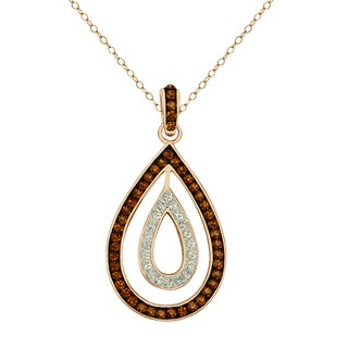 Gold over Silver Brown and White Crystal Teardrop Pendant on 18-inch Chain