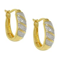 14k Gold Over Silver Diamond Accent Candy Stripe Hoop Earrings