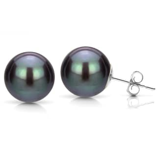 DaVonna 14k White Gold Black Freshwater Pearl Stud Earring (8-9 mm)