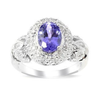 14k White Gold Tanzanite 1/10ct TDW White Diamond Halo Ring (H-1, I1-I2)