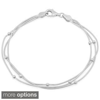 Sterling Essentials Triple Strand Snake Bracelet