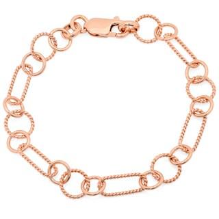 Sterling Essentials Textured Alternating Link Bracelet (Option: Rose Gold Plate/Sterling Silver - 14k - Rose)