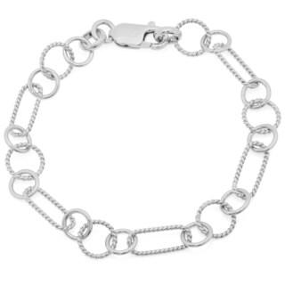 Sterling Essentials Textured Alternating Link Bracelet (3 options available)