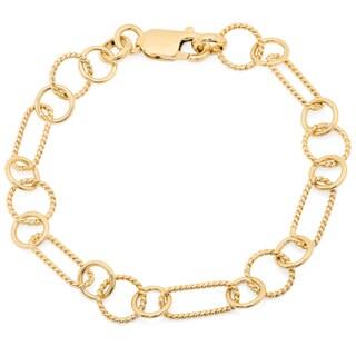 Sterling Essentials Textured Alternating Link Bracelet (Option: Gold Plate/Sterling Silver - 14k - Yellow)