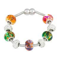 La Preciosa Silvertone Multi-Colored Crystal and Glass Beads Magnetic Bracelet