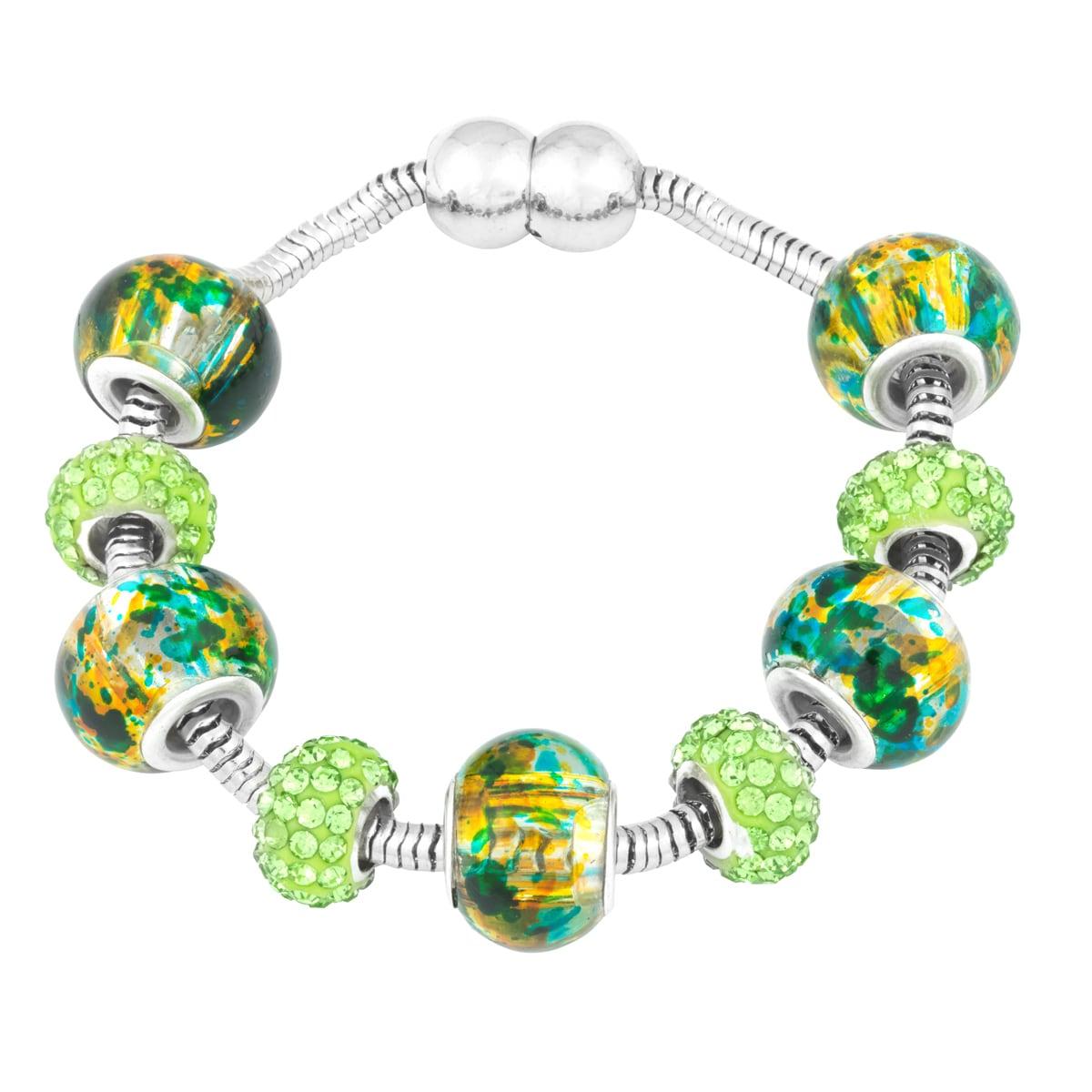 La Preciosa Silvertone Green Crystal and Glass Beads Pand...