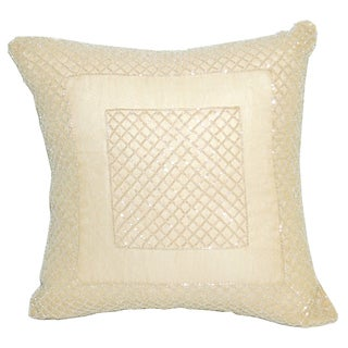 Square Decoratve Pillow with Beaded Embroidery