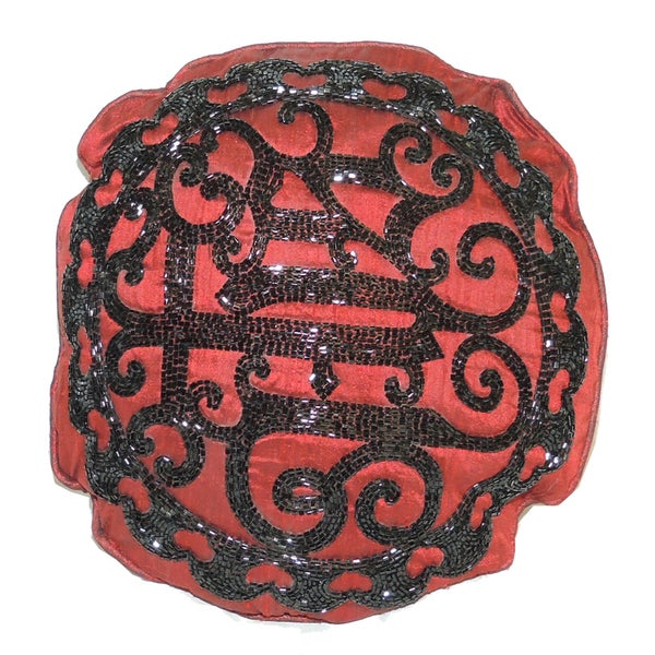 Round Decorative Throw Pillow With Beaded Embroidery Free Shipping Gorgeous Red Round Decorative Pillows
