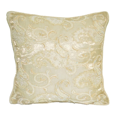 Square Decorative Throw Pillow with Beaded Embroidery- Gold