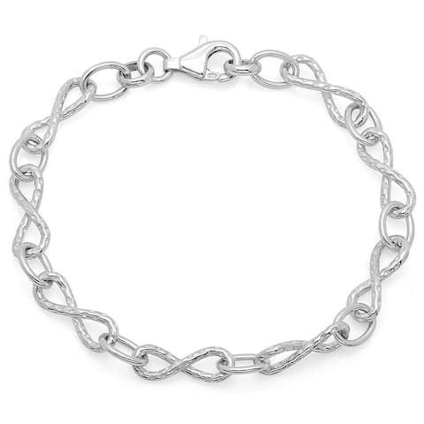 Sterling Essentials Textured Figure Eight Link Bracelet