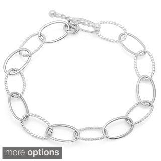 Sterling Essentials Alternating Texture Toggle Bracelet - White