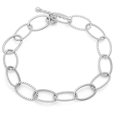 Sterling Essentials Alternating Texture Toggle Bracelet - White