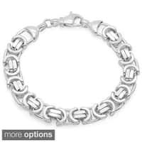 Sterling Essentials 8-inch Flat Byzatine Link Bracelet