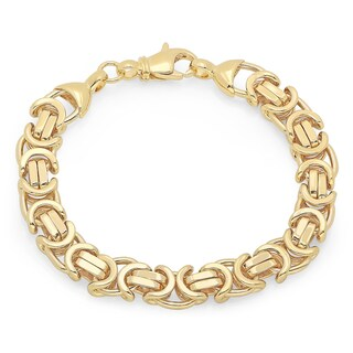 Sterling Essentials 8-inch Flat Byzatine Link Bracelet (Option: Gold Plate/Sterling Silver - Yellow)