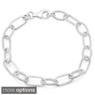 Sterling Essentials Textured Alternating Link Bracelet