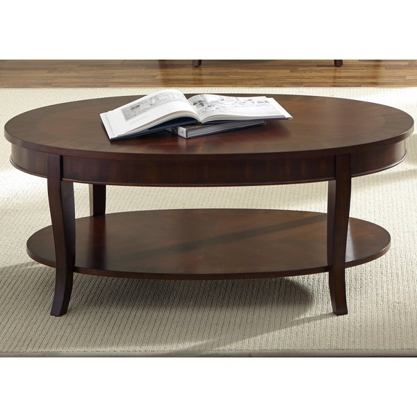 Rich Cherry Oval Cocktail Table Free Shipping Today 16624465