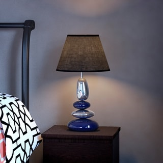 Delano Exposition Stacked Chrome and Metallic Blue Stones Ceramic Table Lamp