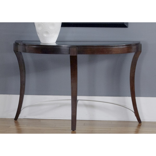 Dark Truffle Glass Top Oval Sofa Table Free Shipping Today 16624506
