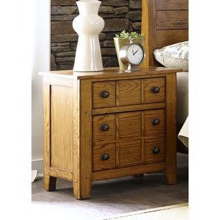 Grandpas Cabin Aged Oak 2-Drawer Nightstand