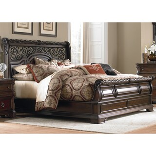 Copper Grove Wyre Brownstone Scrolled Sleighbed