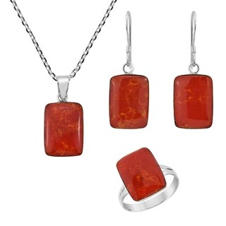 Handmade Geo Sleek Rectangle Stone Sterling Silver Jewelry Set (Thailand)