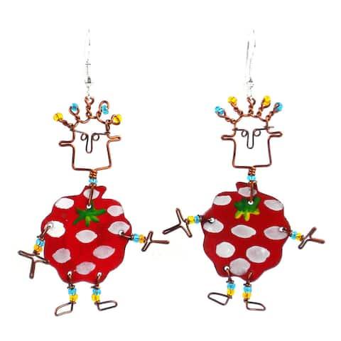 Handmade Dancing Girl Berry Earrings (Kenya)