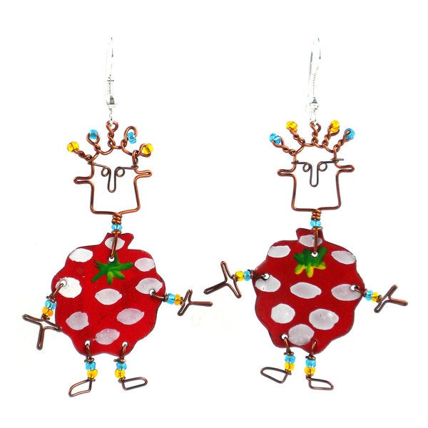 African Dancing Girl Handmade Kenya Christmas Drop Earrings SANTA