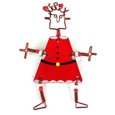 Handmade Dancing Girl Santa Pin (Kenya)